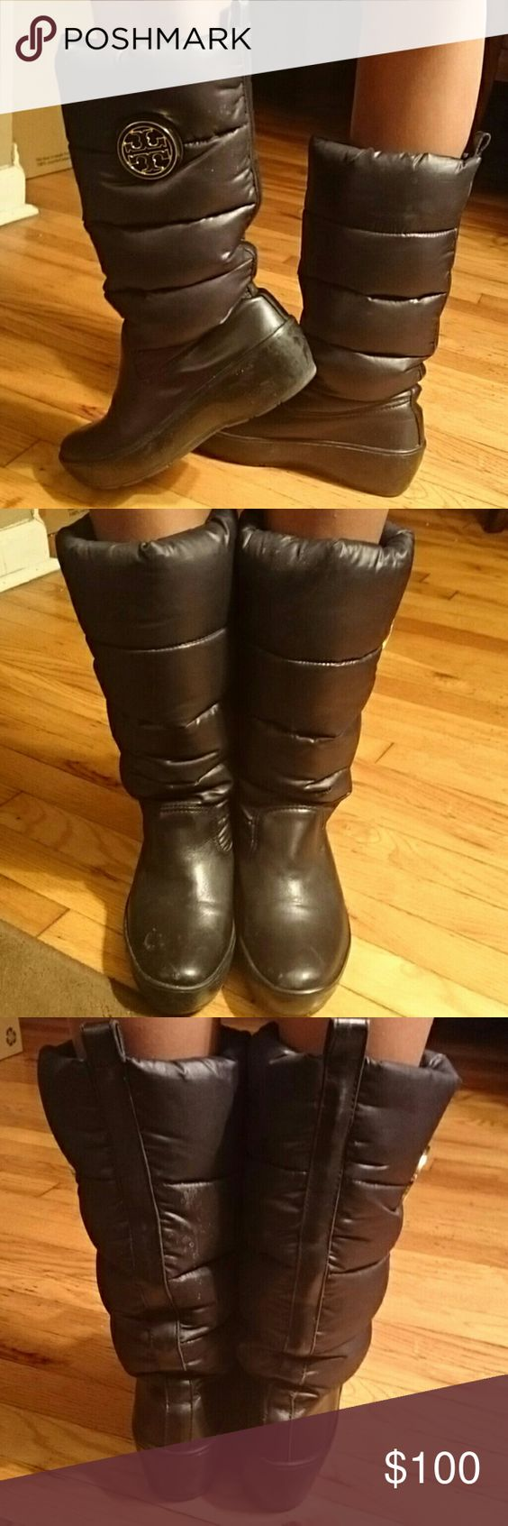 Tory Burch Puffer Boots USED w/ signs of normal wear Tory Burch Puffer Boots, size 9, black..price marked for condition..Great Buy!! Tory Burch Shoes Winter & Rain Boots