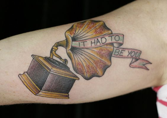 phonograph by only you tattoo, via Flickr