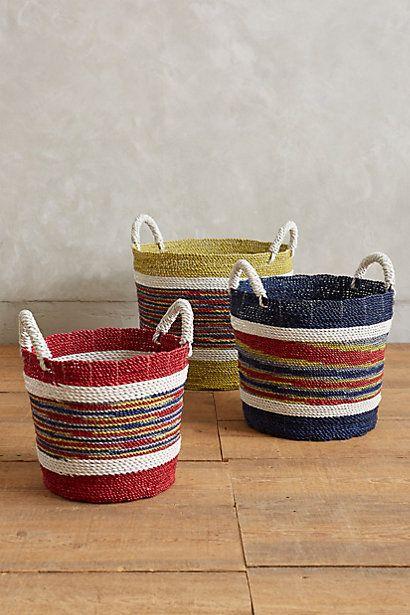 Handmade Market Baskets : Handmade market stripe baskets