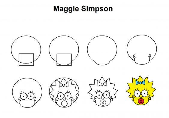Maggie Simpson step-by-step tutorial. #arttutorial #art #tutorial #cartoon