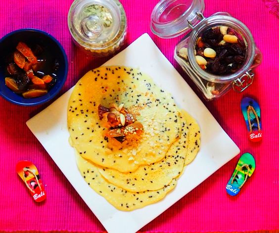 Rice flower pancakes with a couple of drops of rose water  *1 egg  *1 cup of rice flower  *1 cup of milk (almond or regular cow milk)  *1 tea spoon of rice vegan protein   ***little bit of salt  ***little bit of coconut sugar  ***coconut oil  ***all kinda seeds, fruit or maple syrop for garnish     Voila! Enjoy