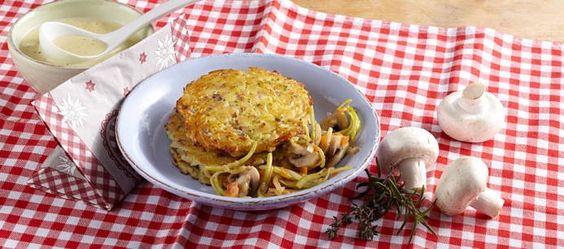 Kartoffel-Rösti mit Champignons an Kräuter-Knoblauchsauce