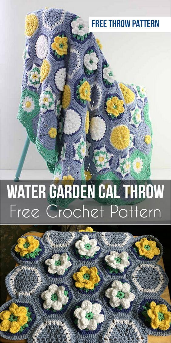 Water Garden CAL Throw  Free Crochet Pattern #CrochetCAL #freecrochetpatterns #crochet #floral #motif