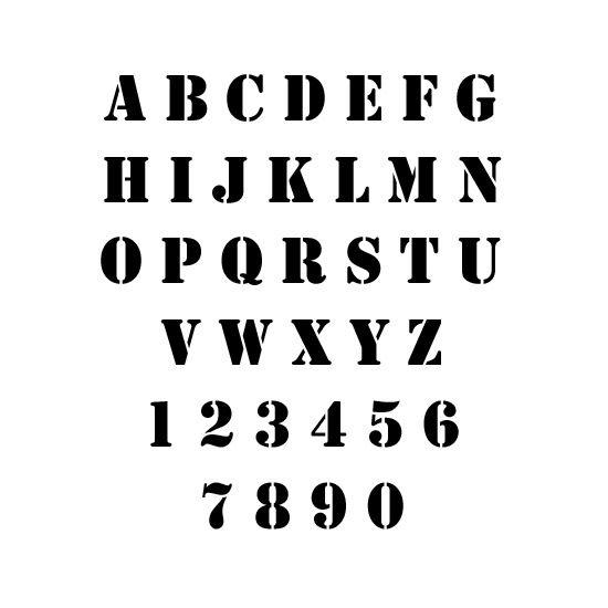 Stencil Font stencil letters & numbers   Fonts, Lettering Etc ...
