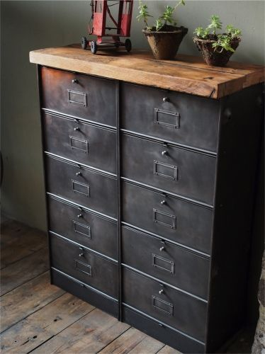 ancien meuble console 10 casiers industriel a clapet roneo 1950 plateau chene massif mobilier. Black Bedroom Furniture Sets. Home Design Ideas