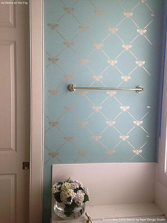 French Bee Trellis Stencil Bathroom Makeovers Pastel