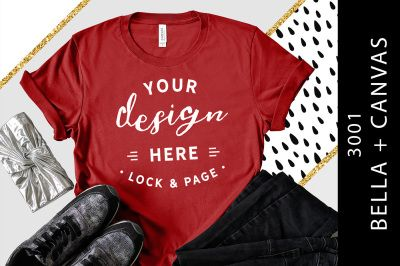 Download Canvas Red Bella Canvas 3001 Womens Styled T Shirt Mockup Psd Mockup Template Shirt Mockup Tshirt Mockup Design Mockup Free