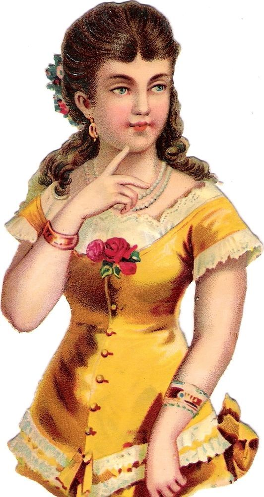 Oblaten Glanzbild scrap die cut chromo Dame 14,5cm  lady girl woman beauty Kind: