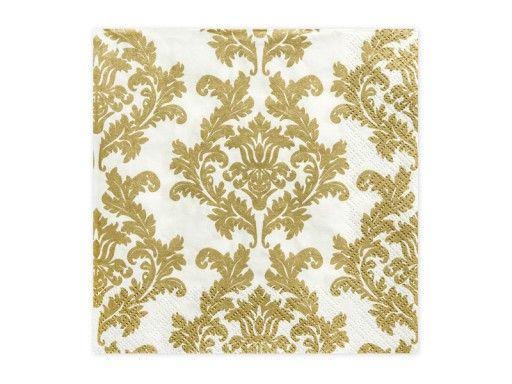 Serwetki Papierowe Ze Zlotym Nadrukiem 20szt 7669274386 Oficjalne Archiwum Allegro Tapestry Decor Napkins