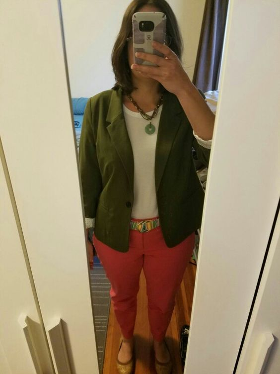 Kensie Rebekah Stretch Crepe Blazer from box 1 with coral pants from Old Navy