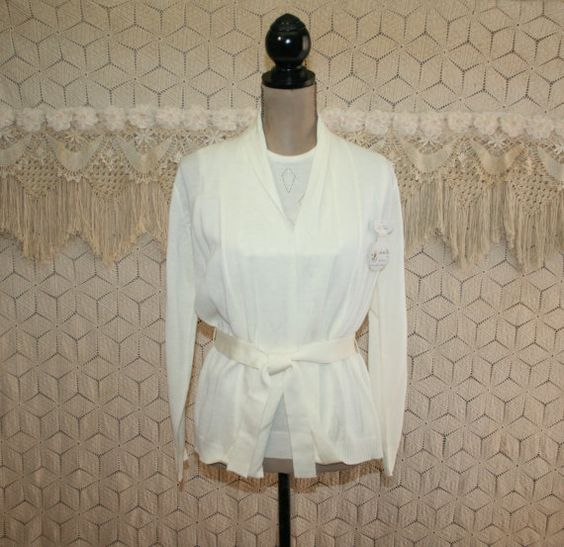 60s 70s Vintage Sweater Set Twin Set White Cardigan White