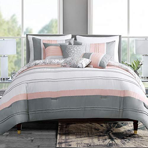 Grandlinen 7 Piece Coral Pink Grey White Abstract Design Pleated Bed In A Bag Comforter Set Queen Size Bed Modern Bed Set Comforter Sets Queen Comforter Sets