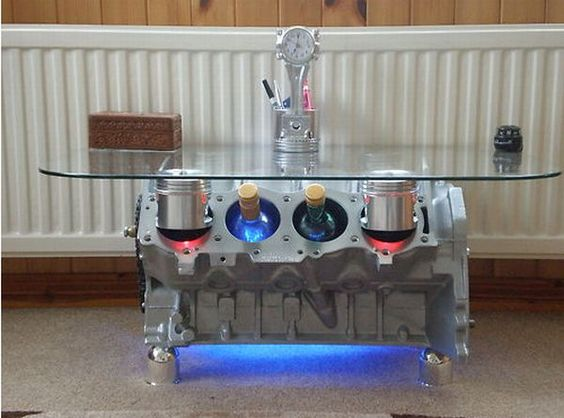 Engine Block Coffee Table With Piston Bores That Act As Wine Rack For Bottles Home Crux Man