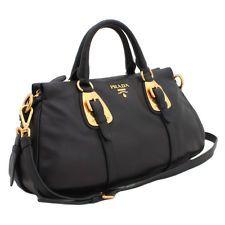 prada satchel - PRADA BN1903 Nero Top Handle Satchel Tessuto Leather Black Nylon ...