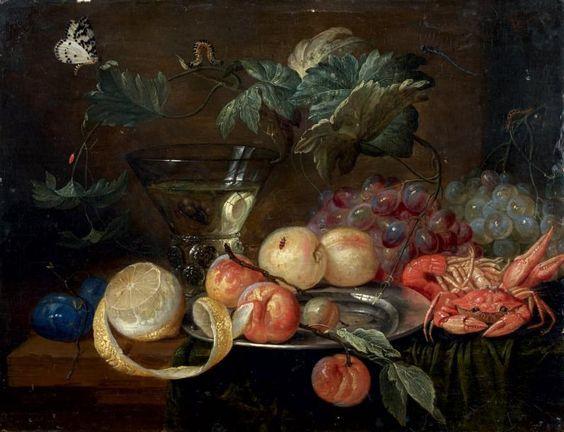 JAN VAN KESSEL (1626-1679)   Nature morte aux raisins, pêches et crustacés