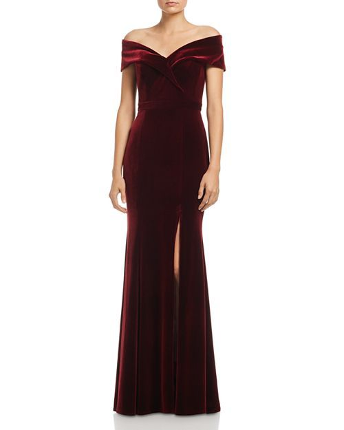 Aqua Off The Shoulder Fluted Velvet Gown 100 Exclusive Women Dresses Evening Formal Gowns Bloomingdale S Velvet Bridesmaid Dresses Velvet Dress Long Velvet Gown