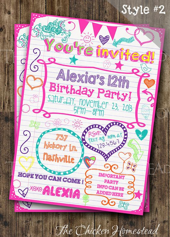 Tween party invite - Teen, Sleepover, doodle birthday invitation!! Digital-printable-invite!! Two styles to choose from!