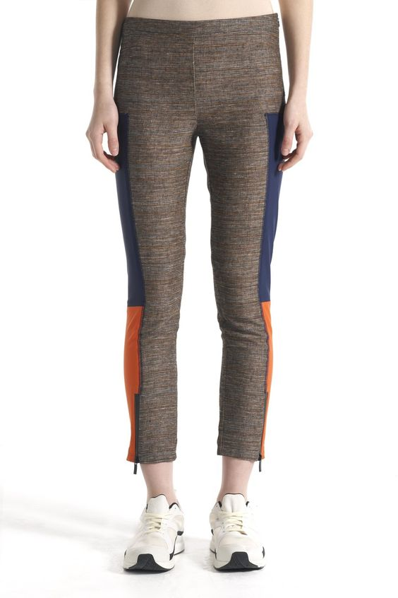 Tweed Speed Leggings Scuba Stretch Inserts Side Zip Ankle Zip