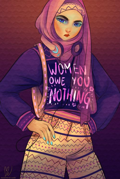 thecarefree-art:  procrastination = hijabi babe power Also available on my…