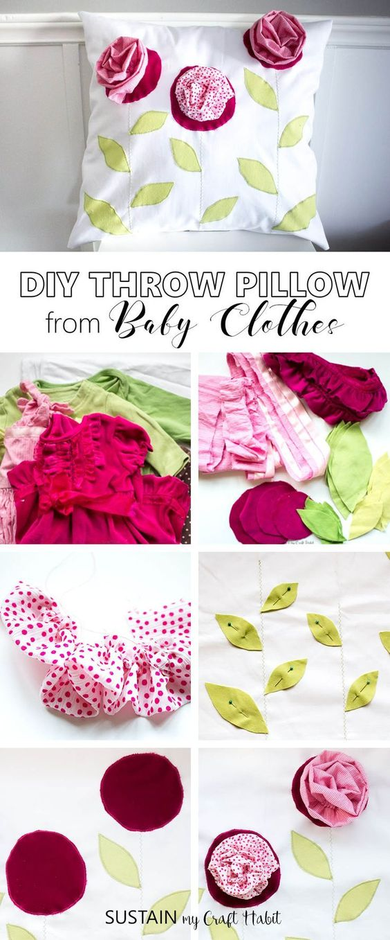 Upcycle baby's outgrown clothes to make a gorgeous farmhouse inspired throw pillow. What a fun and thoughtful handmade birthday or Mother's Day gift idea for mom or grandma! Step-by-step DIY tutorial for this upcycled clothing idea included!
