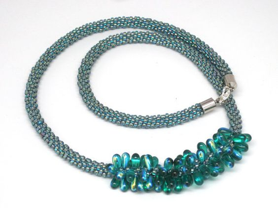 Blue and aqua green Kumihimo necklace