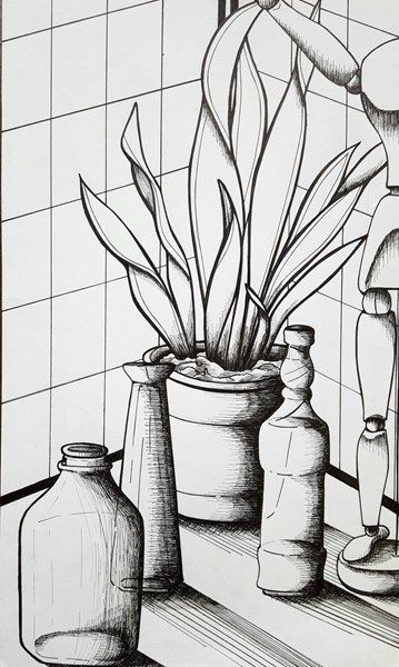 Art Line Quality : Pen and ink still life study w hatching line quality