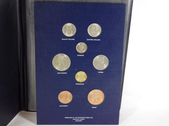 Vintage Set of Pre Decimal Coins of Great Britain in Presentation Folder