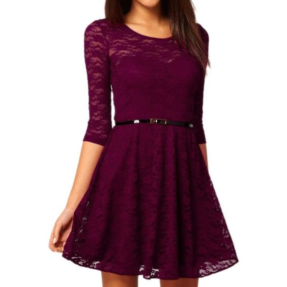 FINEJO Women's Round Neck 3/4 Sleeve Lace Dress With Belt [Apparel] ($13) ❤ liked on Polyvore featuring dresses, 3/4 length sleeve lace dress, purple cocktail dress, three quarter sleeve lace dress, belted lace dress and purple lace dress