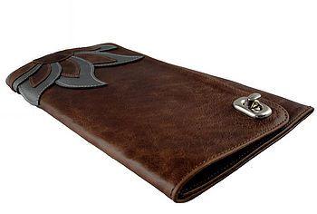 Rustic brown & metallic pewter leather 'Fleur' clutch bag.