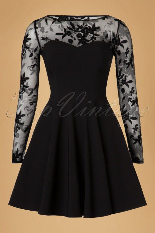 Vintage Chic - 50s Fabiola Floral Mesh Skater Dress in Black