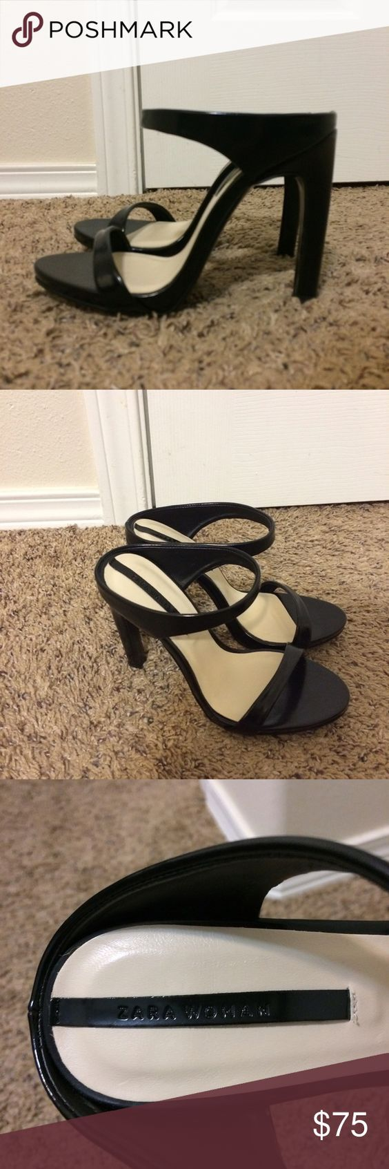 ZARA Black Heels Practically brand new. Amazing condition. They are a bit tight on the toes. Zara Shoes Heels