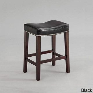 Black Or Red Leather Nailhead Saddle Counter Height Bar