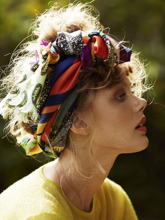 Headband and wild hair - so find a large covetably colourful scarf, wait until I sleep on my wet hair funny, then throw it up in a loose updo with scarf wrapped around it. Sounds fun! and doable!