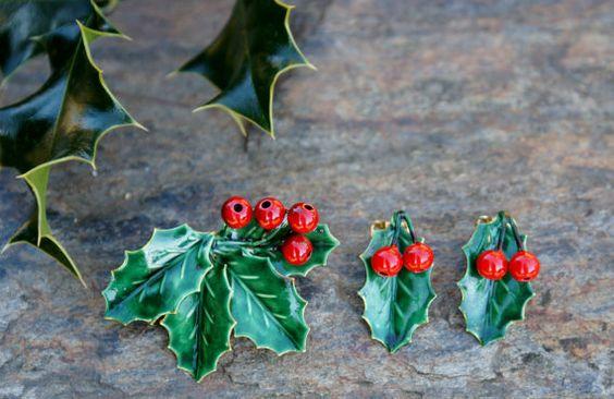Sandor Co Christmas Holly Brooch  Earrings Set
