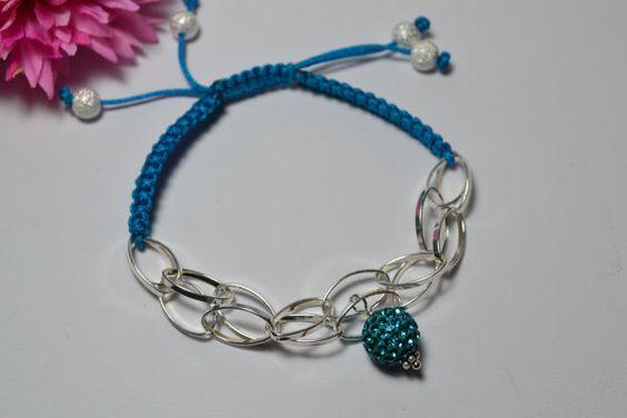 Sterling silver and Nylon Ajustable Bracelet by RomanceinSilverAH,