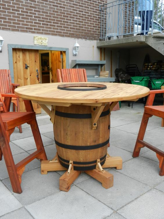 wine barrel table my husband just finished making for. Black Bedroom Furniture Sets. Home Design Ideas