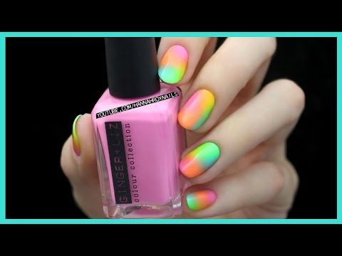 EASY Neon Nail Art - YouTube This is done with a sponge  Going to do it on granddaughter 's nail!!l
