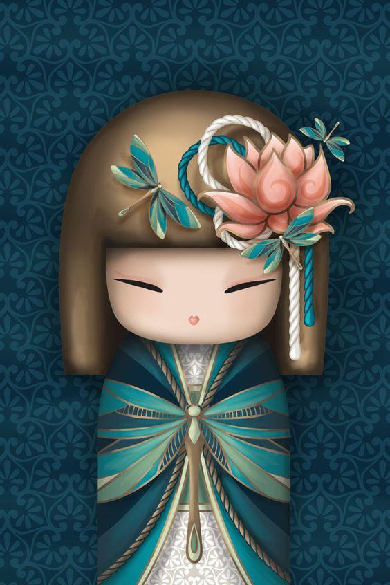 The Modern GEISHA ✿ :: Kokeshi Inspired Kimmidoll Illustration