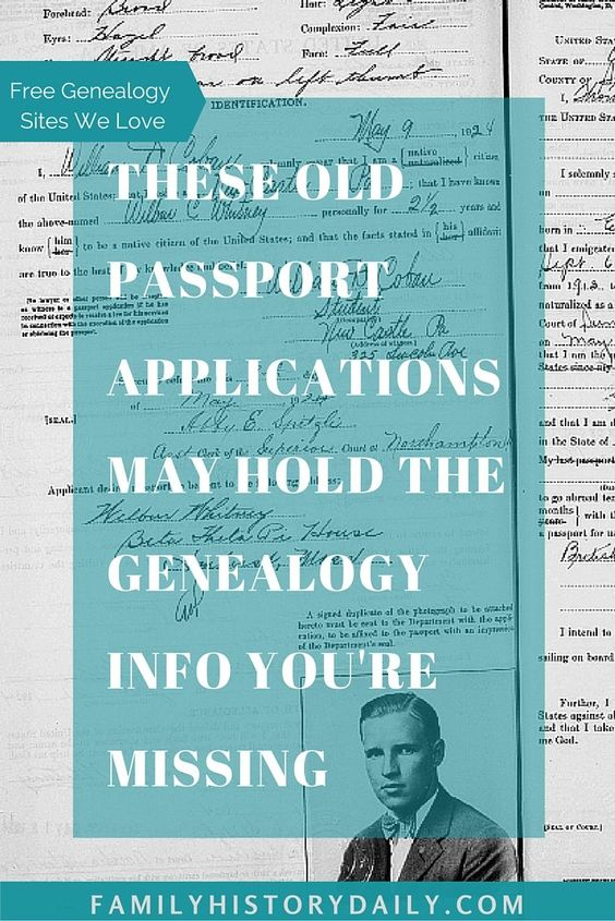 These old passport applications may hold the genealogy info you're missing Family History Daily pinnable Pinterest graphic
