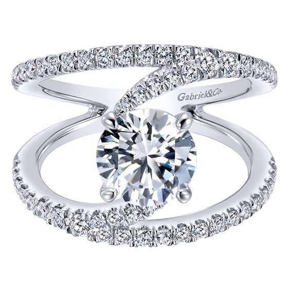 14k White Gold Diamond Split Shank Engagement Ring