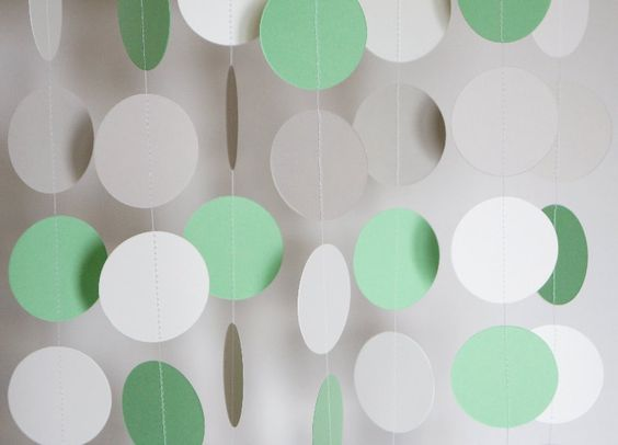 Pastel Green Gray and White Paper Garland by FabulouslyHomemade, $10.00