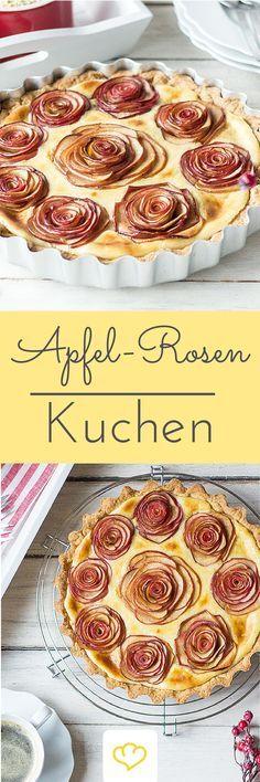 Apfelrosen-Kuchen: Über Rosen zum Valentinstag freut sich jeder! Vor allem, wenn man sie essen kann!
