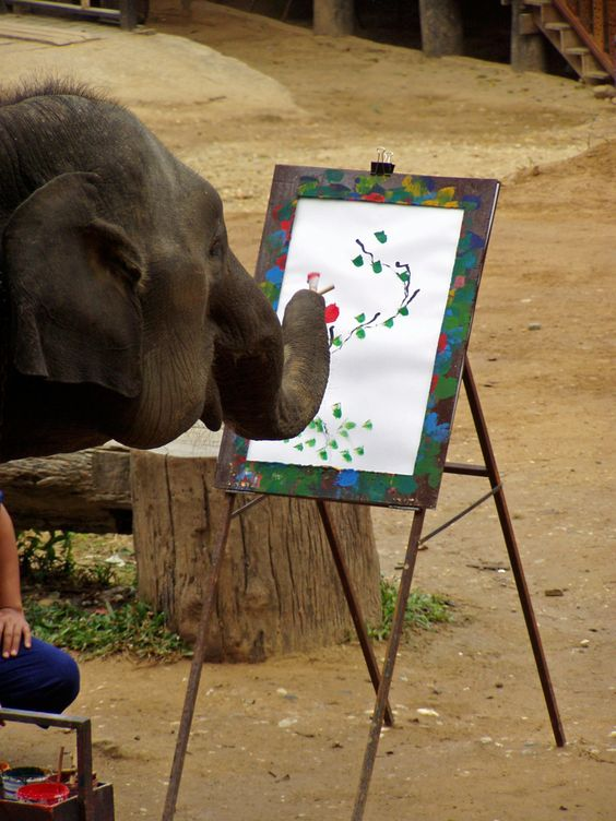 Thai elephant painting a frameable water color.  Amazing.  Rebecca Phillips
