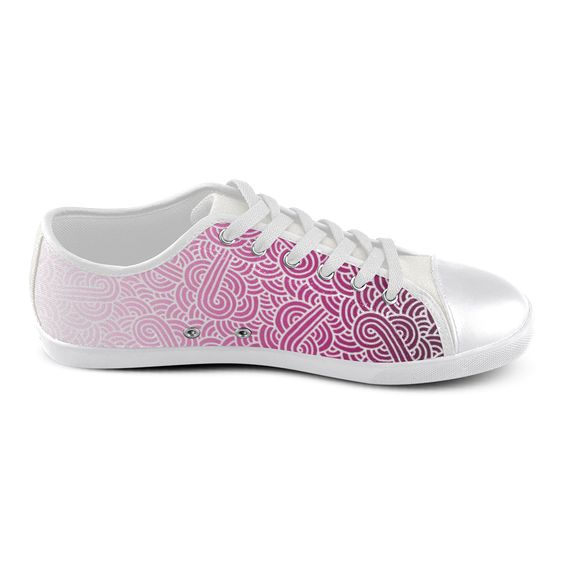 Ombre pink and white swirls zentangle Women's Canvas Shoes (Model 016) by @savousepate on @artsadd