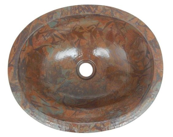 Mexican Copper Bathroom Sink Hand Hammered Oval Drop In Rag Patina