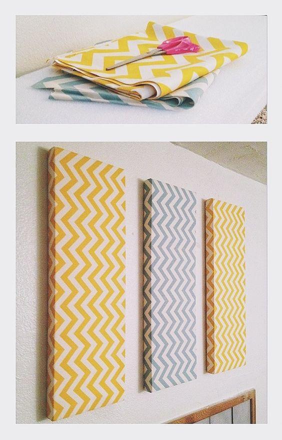 Chevron diy wall decor foam fabric and small nails for Diy chevron wall art