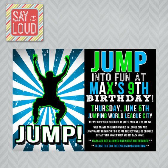 custom jump or trampoline party invitation cubbies the o 39 jays and cubby houses. Black Bedroom Furniture Sets. Home Design Ideas