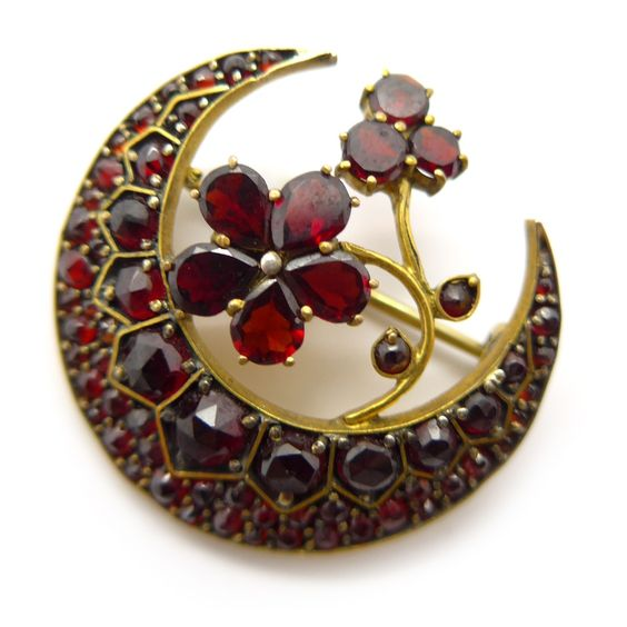 Vintage Antique Victorian Pinchbeck Gold Garnet Crescent Moon Brooch | Clarice Jewellery | Vintage Costume Jewellery