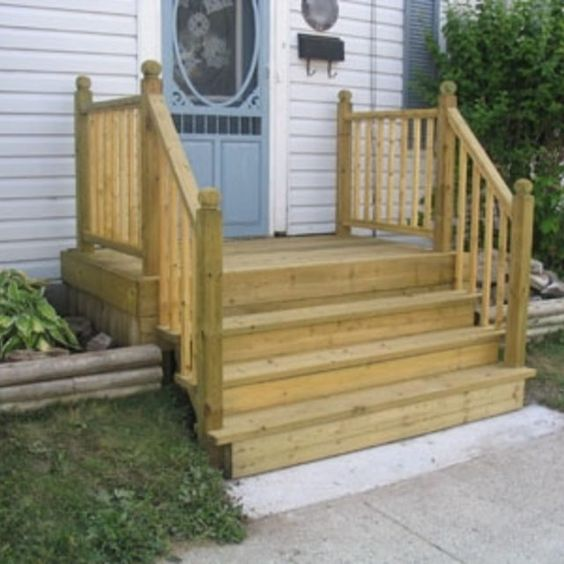 Image gallery mobile home steps for Front step designs wood