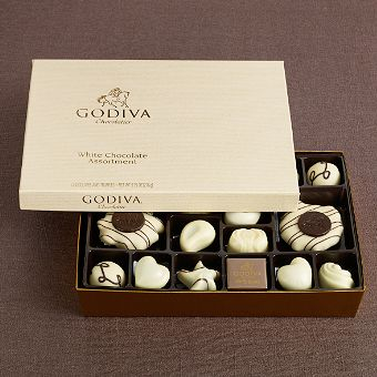 Godiva White Chocolate gift box. Yeah, I could eat the whole box.